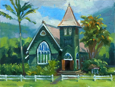 """Hanalei Church"" plein air painting by Mike Carroll"